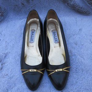BALLY Megan Vintage Black Leather Flats 7 N